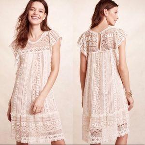 Maeve Anthropologie Eyelet Crochet Tunic Dress Lg